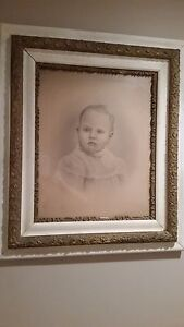 Old Gesso 30 X 26 Wood Frame With Baby Portrait From 1800s Nineteenth Century