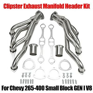 For Chevy Small Block 4 1 Stainless Steel Clipster Exhaust Manifold Header Kit