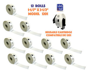 12 Rolls Dk 1201 Brother compatible Address Labels Bpa Free 1 Reusable Cartridge