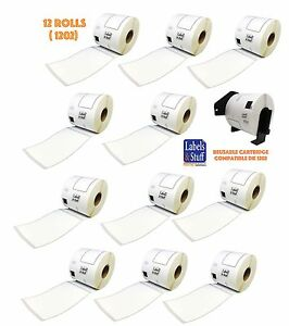 12 Rolls Of Dk 1202 Brother compatible Shipping Labels 1 Reusable Cartridge 1202