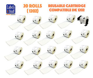 20 Rolls Dk 1202 Brother compatible Shipping Labels 1 Cartridge Dk