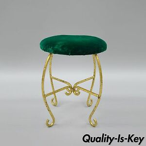 Green Gold Italian Hollywood Regency Iron Vanity Stool Seat Spain Faux Bamboo