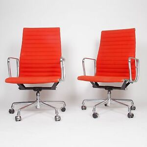 Eames Herman Miller Fabric High Executive Aluminum Group Desk Chairs 6 Avail