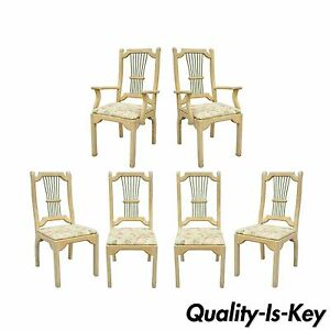 Set 6 Rustic Primitive French Country Wood Spindle Dining Room Chairs Cabin Vtg
