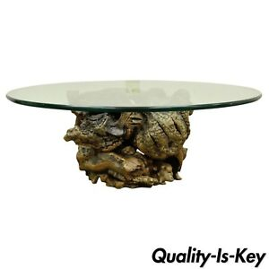 Vintage Mid Century Modern Live Edge Drift Wood Glass Top Burl Wood Coffee Table