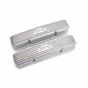 Edelbrock 41459 Classic Finned Valve Covers 3 1 2 Satin For 1959 86 Sbc 262 400