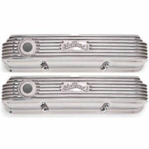 Edelbrock 4162 Classic Finned Valve Covers 5 Polished For 1958 76 Ford Fe