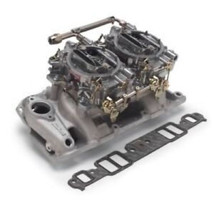 Edelbrock 2025 Dual Quad Manifold And Carb Kit For 1957 86 S B Chevy
