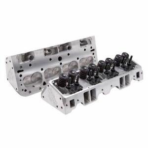 Edelbrock 5073 E Street Cylinder Head Complete Pair For S B Chevy 70cc