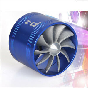 Blue Single Fan Turbonator Turbo Supercharger Tornado Air Intake Gas Fuel Saver