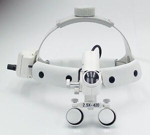 Dental 5w Surgical 2 5x420mm Adjustable Headband Loupe With Led Headlight Dy 105
