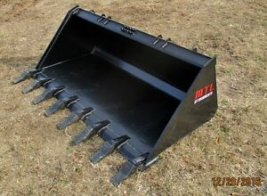 Mtl Attachments Hd 74 Tooth dirt Bucket Quick Attach Skid Steer Bobcat ship 149