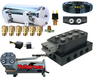 V Air Ride Compressor Package Voltairmaxx Compressor Gauges Stainless 3 Gal