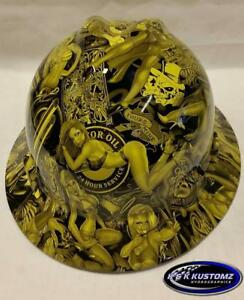 Yellow Naughty Boy Msa V gard full Brim Hard Hat W fastrac