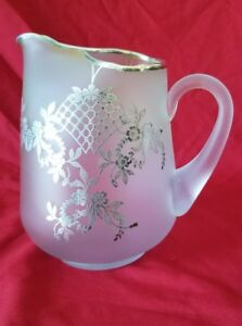 Antique Frosted Glass Floral Pitcher With Sterling Silver Overlay