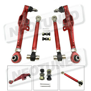 Red For 95 98 240sx S14 S15 4pc Front Lower Control Arm High Angle Tension Rod