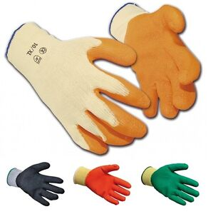 100 Pairs Of Multi Purpose Protective Grab Grip Gloves Latex Palm Coated