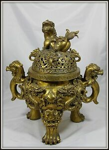 Grand Colossal Chinese Bronze Incense Burner Extraordinary 19 H X 16 W