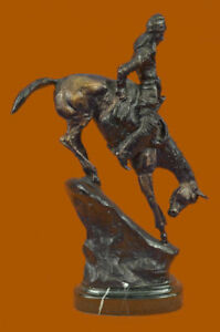 Frederic Remington Bronze Mountain Man Indian Chief On Horse Marble Base Sale