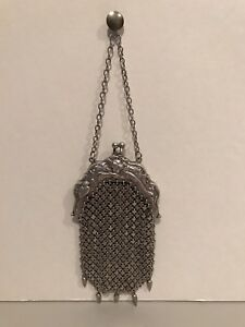 Vintage Art Deco Sterling Silver Mesh Small Mini Hand Purse Extremely Rare Look