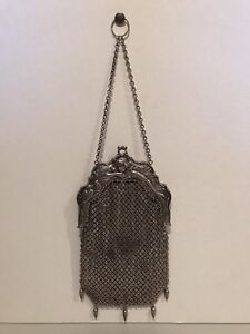 Vintage Art Deco Sterling Silver Mesh Large Hand Purse Extremely Rare Look