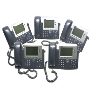 lot Of 5 Cisco Cp 7940g 7900 Series Voip Ip Business Phones With Stands 7940
