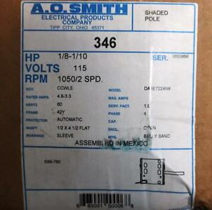 Ao Smith Motor 346 1 8 1 10 Hp 1050 Rpm 2 Spd 115 Volt Ccwle Crref Century Tn 44