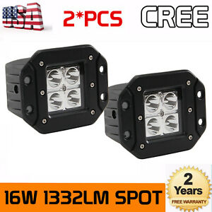 5d 2x 16w Cree Led Pod Lights Flush Mount Driving Work 4wd Fog Light Spot Amber