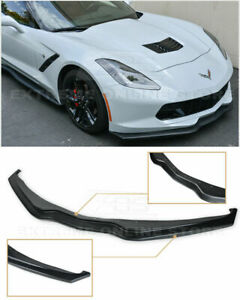 2014 up Corvette Stage 2 Unpainted Black Front Lip Z07 Z06 C7 Kit Abs Plastic