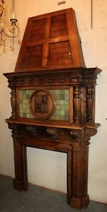 Amazing French Fireplace Mantel In Walnut With Armory On Hood 19th C 1800s