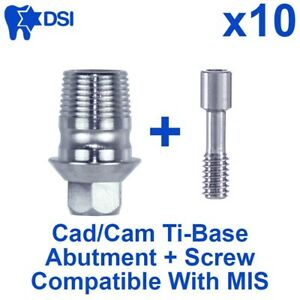 10 Dental Implant Cad cam Connection Ti base Abutment Int Hex Mis Compatible