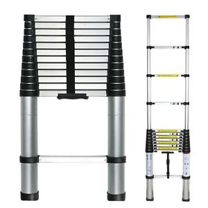 Wolfwise 12 5ft Telescoping Ladder Thick Aluminum Telescopic Extension Ladder