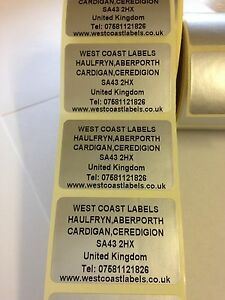 Rolls Of Printed Personalised Silver Return Address Labels 38mm X 25mm
