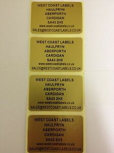 Rolls Of Printed Personalised Gold Address Labels 38mm X 25mm