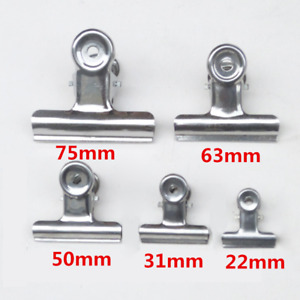 22 31 50 63 75mm Bulldog Stainless Steel Metal Paper Letter Binder Grip Clip Lot
