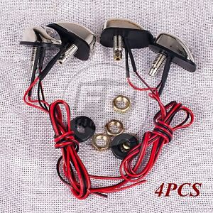 4 X Led Red Light Windshield Hood Jet Spray Nozzle Water Spout Wiper Washer