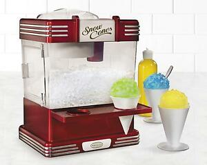 Snow Cone Maker Shaved Ice Storage Retro Ice Shaver Machine Tabletop Snow Cups