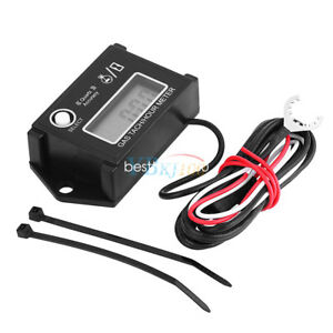 Tach Hour Meter Digital Lcd Rpm Tachometer Motorcycle Go Kart Gas Engine Atv Bt