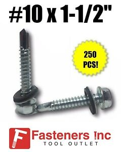 250 Hex Rubber Washer Head 10 X 1 1 2 Self drilling Roofing Siding Screw Zinc