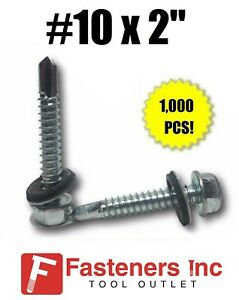 1000 Hex Rubber Washer Head 10 X 2 Self drilling Roofing Siding Screw Zinc