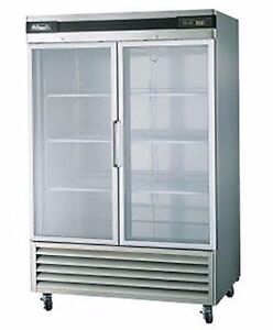 Blue Air Bsr49g Glass Door Reach in Refrigerator 2 Door Commercial True Cooler