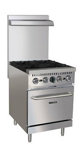 New 24 Gas Range 4 Burners 1 Oven Stainless Steel Black Diamond Bdgr 24 ng