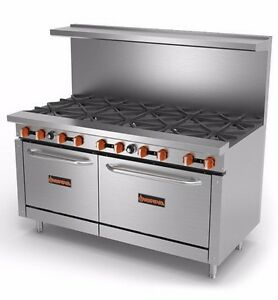 New 60 Gas Commercial Range 10 Open Burners 2 Ovens Sierra Sr 10 60