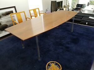 Florence Knoll Curved Walnut Dining Conference Table Mid Century Modern 1960s