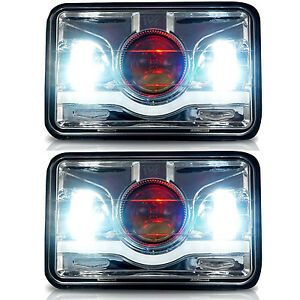 2x 4x6 Demon Cree Led Sealed Beam Headlight For H4651 H4652 H4656 H4666 H6545