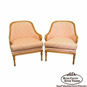 Quality Pair Of Barrel Back Regency Style Bergere Lounge Chairs