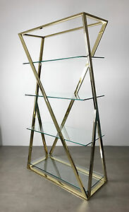 Vintage Milo Baughman Style Brass Glass X Etagere Shelving Mid Century Modern