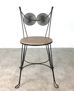 Vintage Tony Paul Spiral Black Iron Wire Side Accent Chair Mid Century Modern