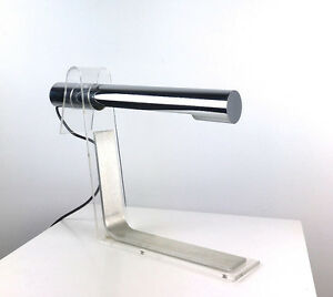 Rare Vintage Italian Tubular Chrome Lucite Table Desk Lamp Mid Century Modern