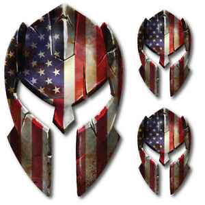 3x Usa Molon Labe Spartan Helmet Decal American Flag Sticker 2nd Amendment Yeti